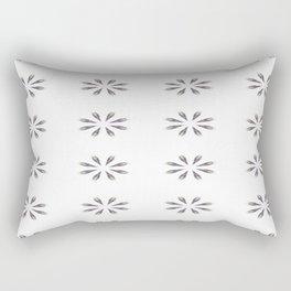 Simple White Grey Flowers Rectangular Pillow