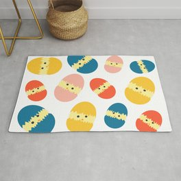 Multi Coloured Easter Eggs with Chicks - Yellow Orange Turquoise Pink Rug