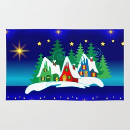 Christmas, Home for the Holidays Midnight Blue, Holiday Fantasy Collection Rug