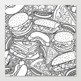 Junk and Health Food Frenzy Canvas Print