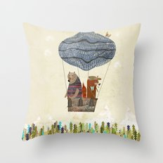 mr fox and bears wondrous adventure Throw Pillow