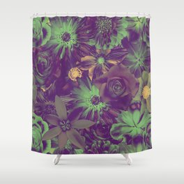 Deep Night Dramatic Flowery Pattern Shower Curtain
