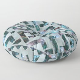 Abstract Geometric Labradorite on Mother of pearl Floor Pillow