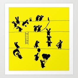 Fighting Bunnies Art Print