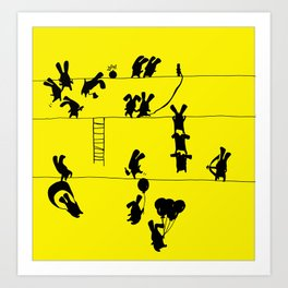Fighting Bunnies Art Print
