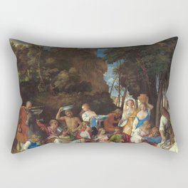 The Feast of the Gods Painting by Giovanni Bellini and Titian Rectangular Pillow