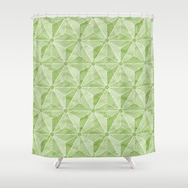 Geodesic Palm_Green Shower Curtain