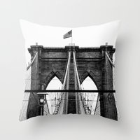 brooklyn bridge Throw Pillows featuring Brooklyn Bridge by Graham Dunk