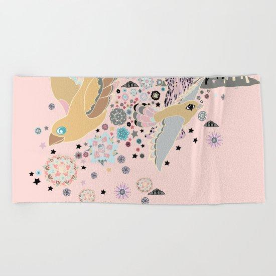 Pink Woods Beach Towel