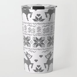 Christmas black and white, the embroidered pattern. Travel Mug