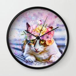 Flower Power Pussycat Wall Clock
