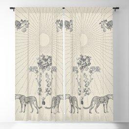 CHEETAH BLOOM Minimalist Modern and Vintage Illustration Design of a Cool Artsy Geometric Wildcat Floral Sun Blackout Curtain
