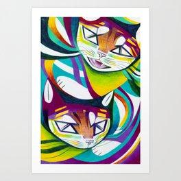 Cat Interplay 5 Art Print