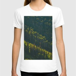 Aerial View OF Green Forest Tall Trees T-shirt