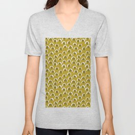 Sunny Melon love abstract brush paint strokes yellow ochre Unisex V-Neck