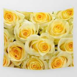 soft yellow roses close up Wall Tapestry