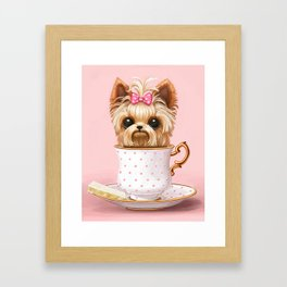 Yorkie In A Teacup Framed Art Print