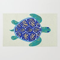 sea turtle Area & Throw Rugs featuring Sea Turtle by Cat Coquillette