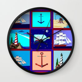 A Nautical Quilt with Ships, Lighthouses and Anchors Wall Clock