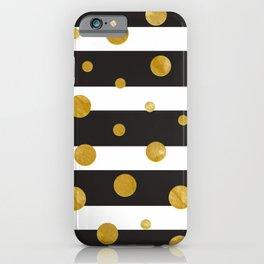 Stylish Elegant Stripes 1 (with Golden Dots) iPhone Case