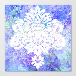 White Pattern on Floral Background Canvas Print