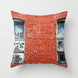 Old Windows Bricks Throw Pillow