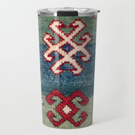 Chevron Stars II // 19th Century Colorful Steel Blue Light Green Teal Checkered Ornate Accent Patter Travel Mug