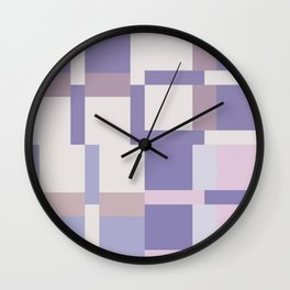 Geometric Color Block Pattern - Purple and Latte Wall Clock