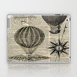 newspaper print victorian steampunk airship plane hot air balloon Laptop & iPad Skin
