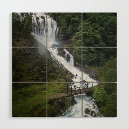 Painterly Waterfall in Norway with bridge in foreground -Landscape Photography Wood Wall Art