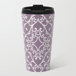 Decorative Floral Pattern 23 - Monsoon Purple, Bon Jour Gray Travel Mug