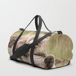Big Beautiful Grizzly Bear Relaxing In Green Meadow Close Up Ultra HD Duffle Bag