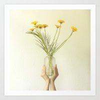Holding flowers Art Print