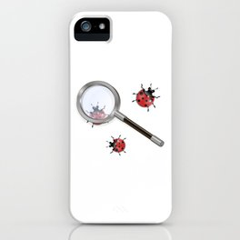 Magnifying glass and ladybird iPhone Case