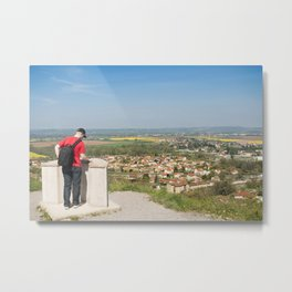Tourist reading information on observation point Metal Print