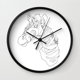 Blind Contour Zebra Wall Clock
