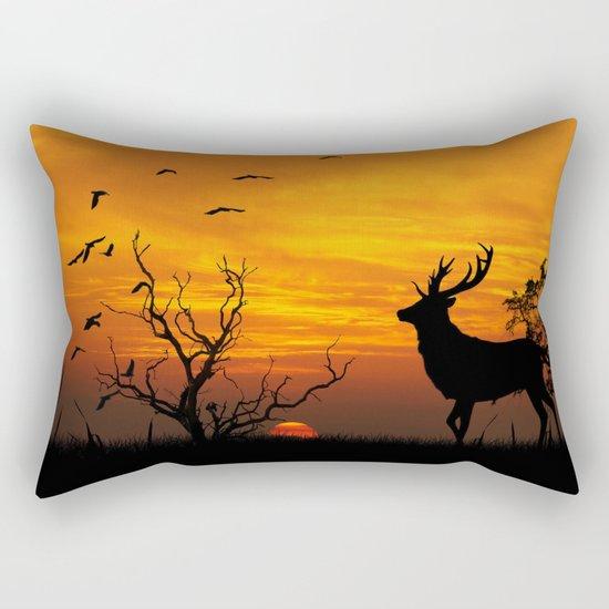 Sunset Deer Silhouette Rectangular Pillow