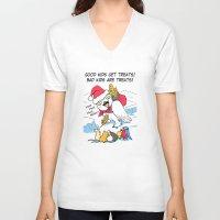 meme V-neck T-shirts featuring Funny snowy owl santa meme by Bird gifts for bird folks