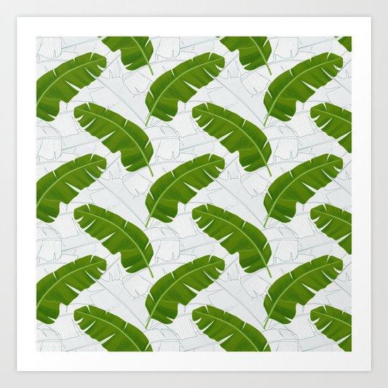 Banana Leaves_ Bg White Art Print