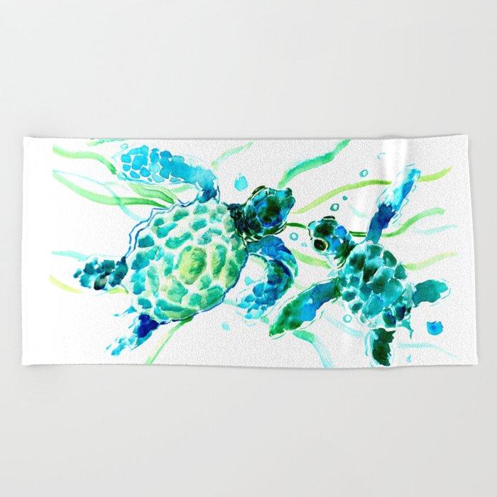 Sea Turtles, Turquoise blue Design Beach Towel