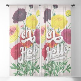 oh Hello vintage spring flowers Sheer Curtain