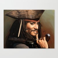 jack sparrow Canvas Prints featuring Jack Sparrow by Hernán Castellano
