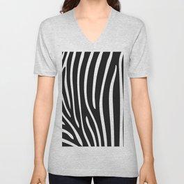 Modern abstract black white zebra animal print Unisex V-Neck