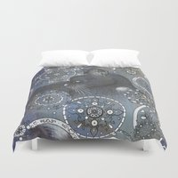 sakura Duvet Covers featuring Sakura by Java Fiend Studio