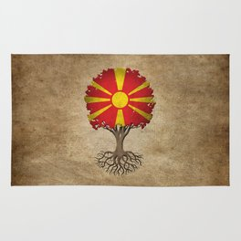 Vintage Tree of Life with Flag of Macedonia Rug