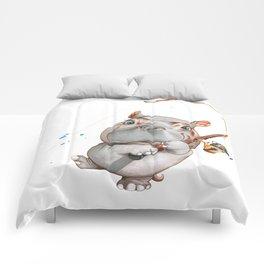 A hippopotamus fishing Comforters