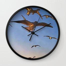 Seagulls In Flight Black Outline Art Wall Clock