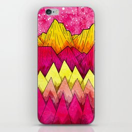 Red hot pink mountains iPhone Skin