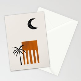 Golden Brown Minimalist Mid Century Ancient Minimal Ruin Architecture Moon Lit Palm Trees Ejaaz Haniff Stationery Cards