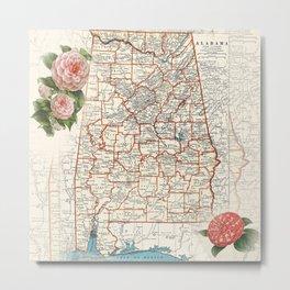 Alabama map with Camelias Metal Print